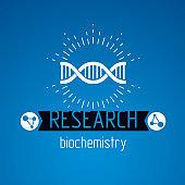 Vector model of human DNA, double helix. Bioengineering and genetics conceptual vector, laboratory research symbol.
