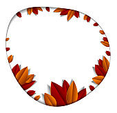 Autumn leaves beautiful background or frame with blank copy space for text, vector illustration in paper cut style. Fall season anniversary event or greeting card.