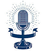 Retro studio microphone vector emblem. Radio music station advertising emblem. News and facts reporting, social telecommunication.