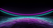 Futuristic Sci-Fi Arc Shaped Neon Tube Vibrant Purple And Blue Glowing Lights On Reflective Tilted Rough Concrete Surface In Dark Room Empty Space 3D Rendering