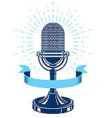 Retro studio microphone vector symbol. Radio music station advertising emblem. Social announcement, broadcasting concept.