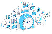 Table Clock isolated on white background, timeline, business deadline, time is money concept. Isometric 3d vector finance illustration with icons, stats charts and design elements.