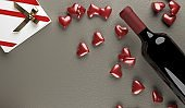 Red Wine Bottle With Opened Gift Box Full Of Red Hearts
