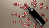 Wine Bottle With Bunch Of Red Hearts