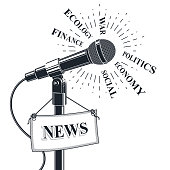 3d microphone vector illustration with news tag. Public relations concept, social announcement on political, economical, ecology theme.