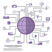 Logistics & Shipping - conceptual background with logistics, transport icon set. Vector