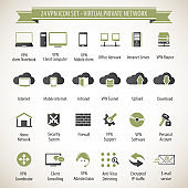 VPN, Virtual Private Network vector icons set