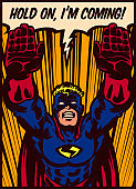 Pop art comics panel flying superhero vector illustration
