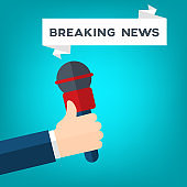 Breaking news, hand holding a microphone, interview vector illustration