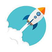 Rocket launch. Business startup concept. Vector illustration.