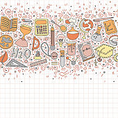 Welcome Back to School Hand Drawn Supply doodles background. Vector illustration of cartoon back to school supplies. Back to School Banner from set of cartooning icons of education, science objects and office supplies. Back to school art concept on white