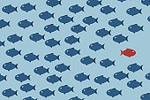 Think different. Think differently -One red unique different fish swimming opposite way of identical blue ones. Courage, confidence, success, crowd and creativity concept. EPS 10 vector illustration.