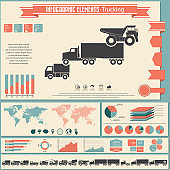 Trucks icons set and infographic elements. Vector