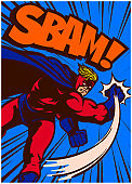 Pop art vintage comic book style superhero in action punching vector illustration