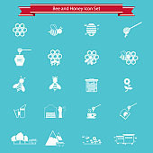 Bee and honey icon set. Beekeeping, apiculture icons