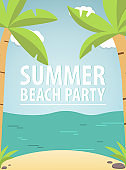 Tropical landscape with the beach sandy and sea waves and palm trees. A holiday in the resort. A concept of design of a summer poster in flat style a vector.