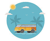 Retro the vintage van for trips. A summer tropical landscape with palm trees and the sun. Flat vectorRest on a holiday on a camping.
