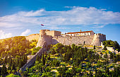The Fortica fortress (Spanish Fort or Spanjola Fortres) on the Hvar island in Croatia. Ancient fortress on Hvar island over town (citadel), popular touristic attraction of Adriatic coast, Croatia.