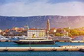 Split, Croatia (region of Dalmatia). UNESCO World Heritage Site. View of Split city, Diocletian Palace and Mosor mountains in background. Split panoramic view of town, Dalmatia, Croatia.