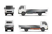 White realistic delivery cargo truck isolated on white. City commercial lorry mockup from side, front and rear view. Vector illustration