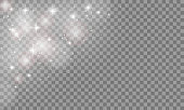 Set Glow light effect isolated on transparent background. Sun flash or Star burst with sparkles. Vector illustration