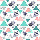 Seamless Pattern of Indigo Ferns and Triangles