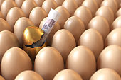 Standing Out From The Crowd / Winning Lottery Concept With Golden Egg