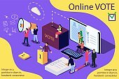 Isometric illustration concept. Group of people give online vote.