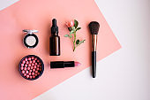Makeup cosmetic products color background flat lay top view.woman beauty fashion decorative.