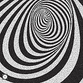 Tunnel. Black and white abstract striped background. Pointillism pattern with optical illusion. Stippled vector illustration.