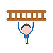 Vector illustration businessman character holding up wooden ladder