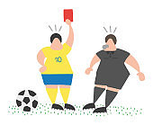 Vector cartoon soccer player man showing red card to referee.
