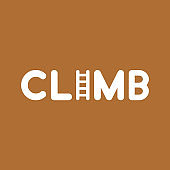 Vector icon concept of climb word with ladder on brown background