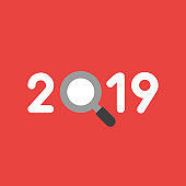 Vector icon concept of year of 2019 with magnifying glass on red background