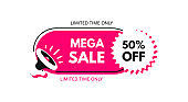 Mega sale. 50% off. Megaphone with bubble speech. Concept for promotion and advertising. Sticker for best stock sales. Vector illustration for design or print.