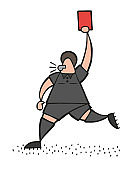 Vector cartoon referee man running and showing red card