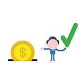Vector businessman character holding check mark and pointing dollar coin into moneybox