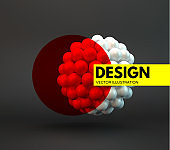 Sphere. 3d vector template. Abstract illustration. Idea concept for science, technology, web design and network.
