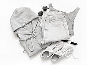 Set of grey casual clothes and accessories