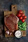 Roasted organic rancho beef steak with vegetables