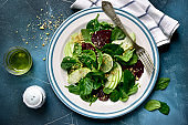 Vegetable salad with beetroot, spinach, apple and walnut