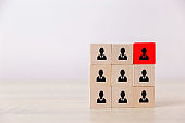 Human resource management and recruitment business concept, Business Strategy to succeed in today's highly active business practices,putting wood cube block on top square.