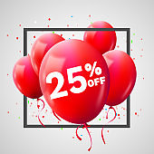 Red Balloons Discount Frame. SALE concept for shop market store advertisement commerce. 25 percent off. Market discount, red balloon. Business sale template.
