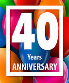 Forty years anniversary. 40 years. Greeting card or banner concept.