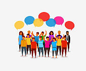 Colorful social network people with speech bubbles.Business social networking and communication concept.