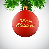 Red christmas ball on a Christmas-tree branch.