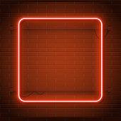 Neon lamp casino rectangel frame on brick wall background. Las Vegas concept.