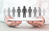Human resources management and recruitment. Leadership concept
