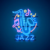 Neon label music jazz banner. template design element. Vector illustration