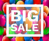 Colorful Balloons Discount Frame. SALE concept for shop market store advertisement commerce. Market discount, red balloon. Big sale template.